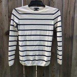 Armani Exchange Striped Blue & Ivory Crew Sweater